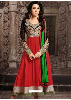 Karishma Kapoor Red Georgette Anarkali Suit