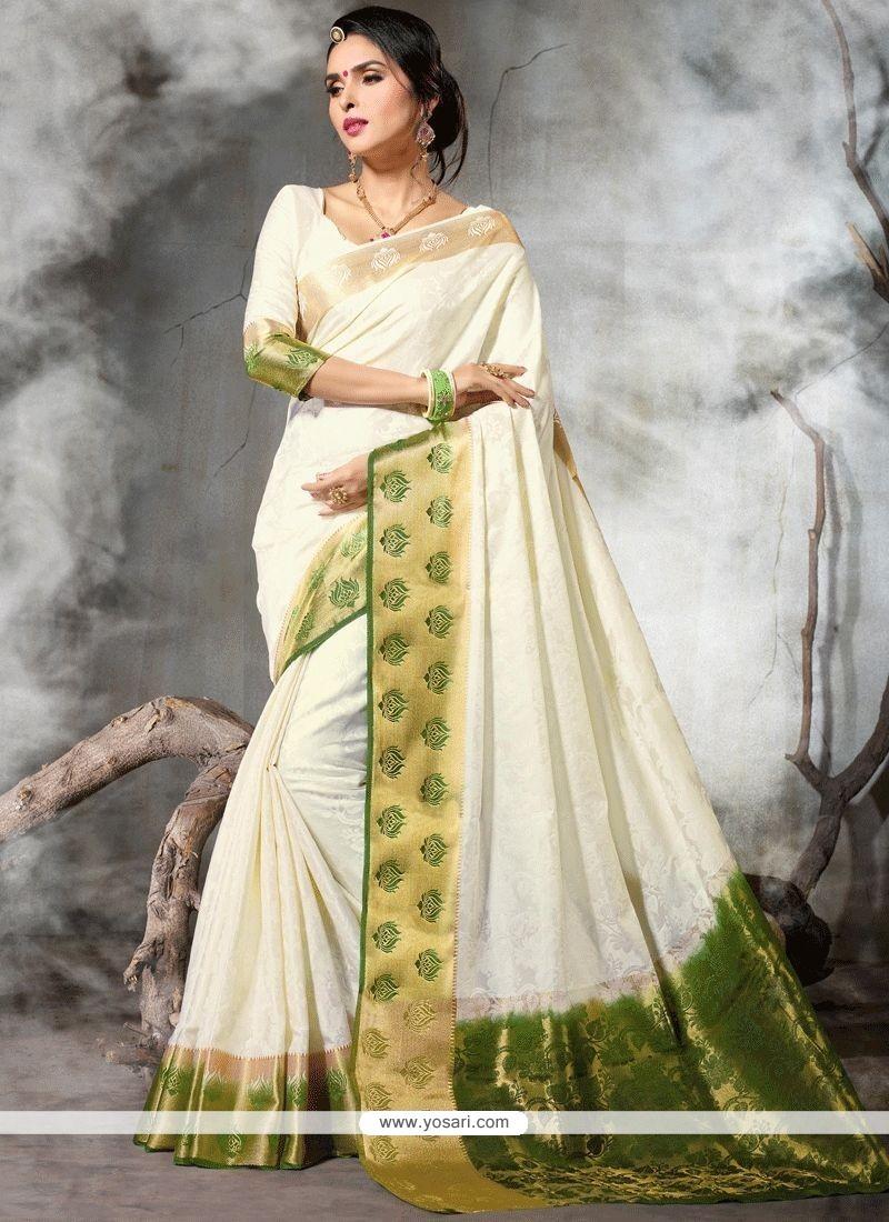 fa8cecdb7e176 Buy White Weaving Work Art Silk Traditional Saree