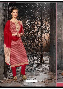 Red Lawn Cotton Salwar Kameez