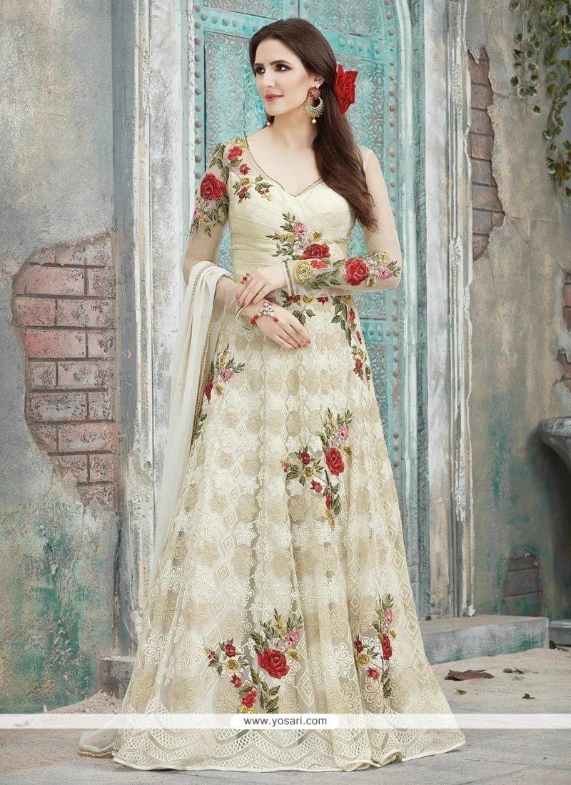 a144373245 Buy Resham Work Net White Floor Length Anarkali Suit | Anarkali Suits