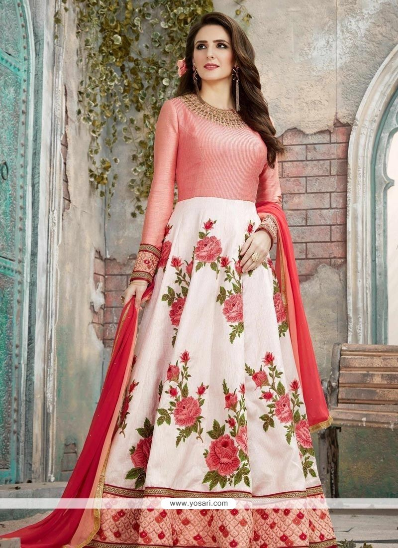 23893c41cb0 Buy Embroidered Work Red And White Art Silk Floor Length Anarkali ...