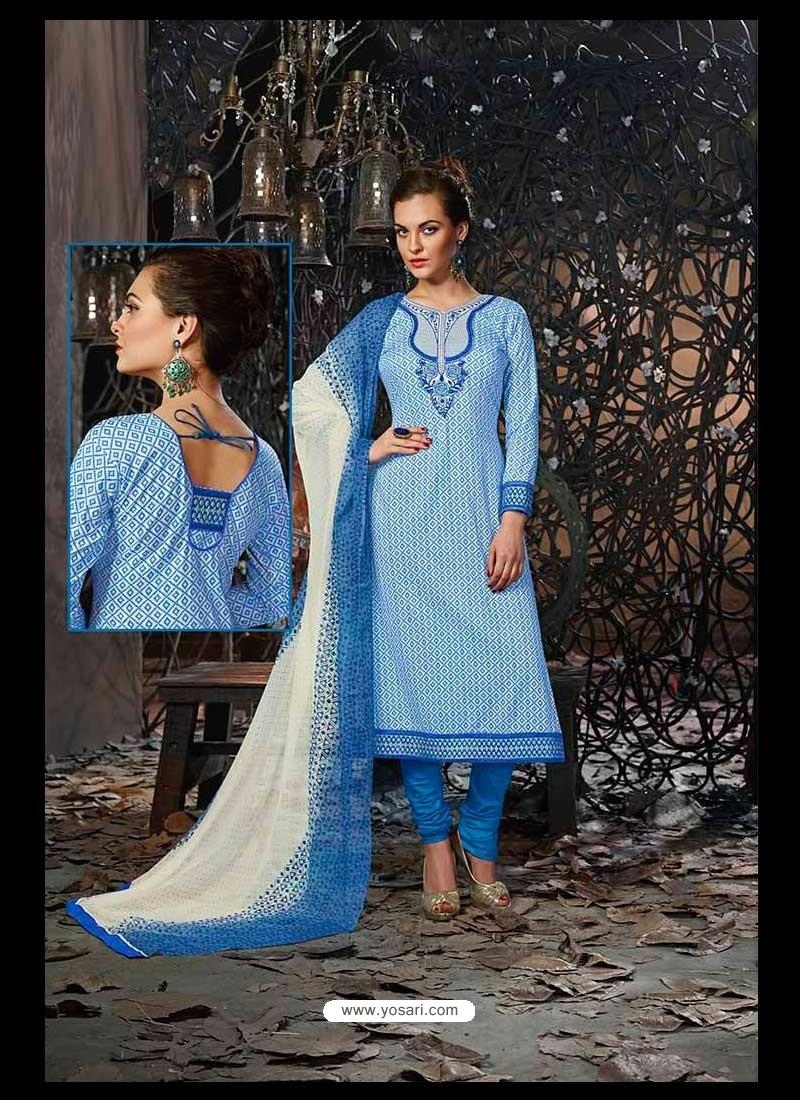 Blue Lawn Cotton Salwar Kameez