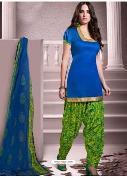 Blue Cotton Punjabi Patiala Suit