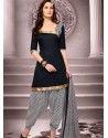 Black Cotton Punjabi Patiala Suit