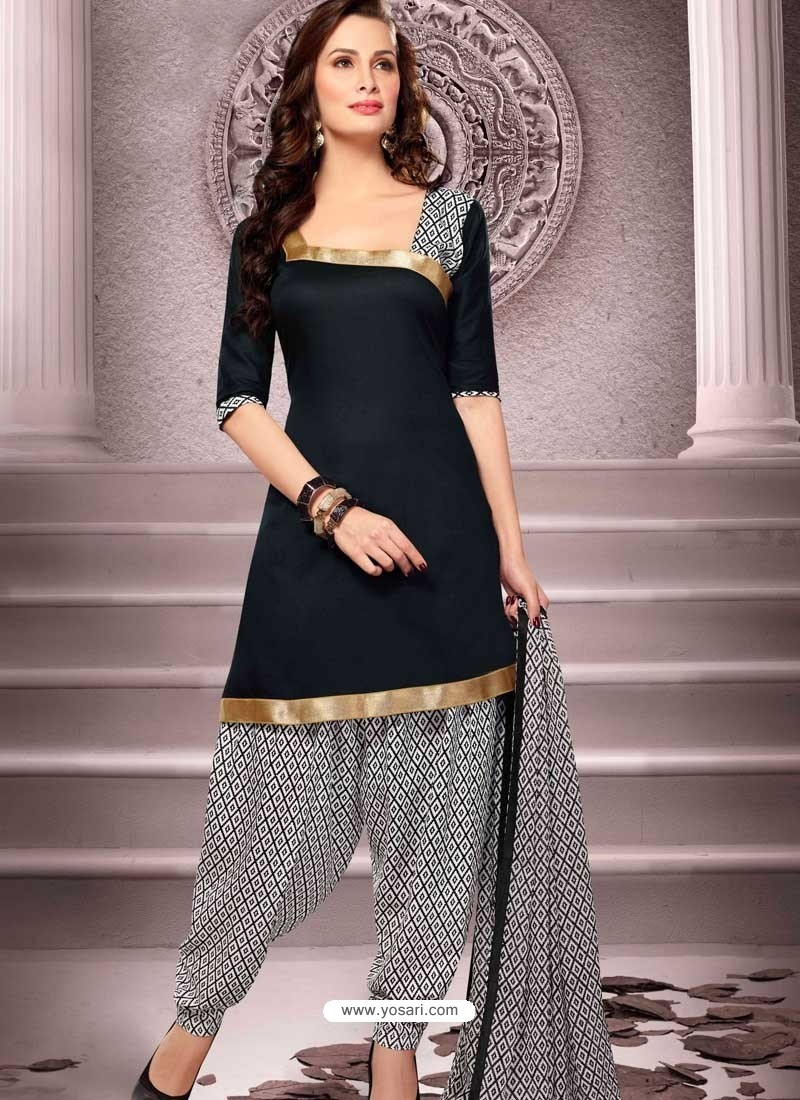 e9c2b1ad8d Black Cotton Punjabi Patiala Suit | Punjabi Patiala Suit online