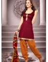 Maroon Cotton Punjabi Patiala Suit