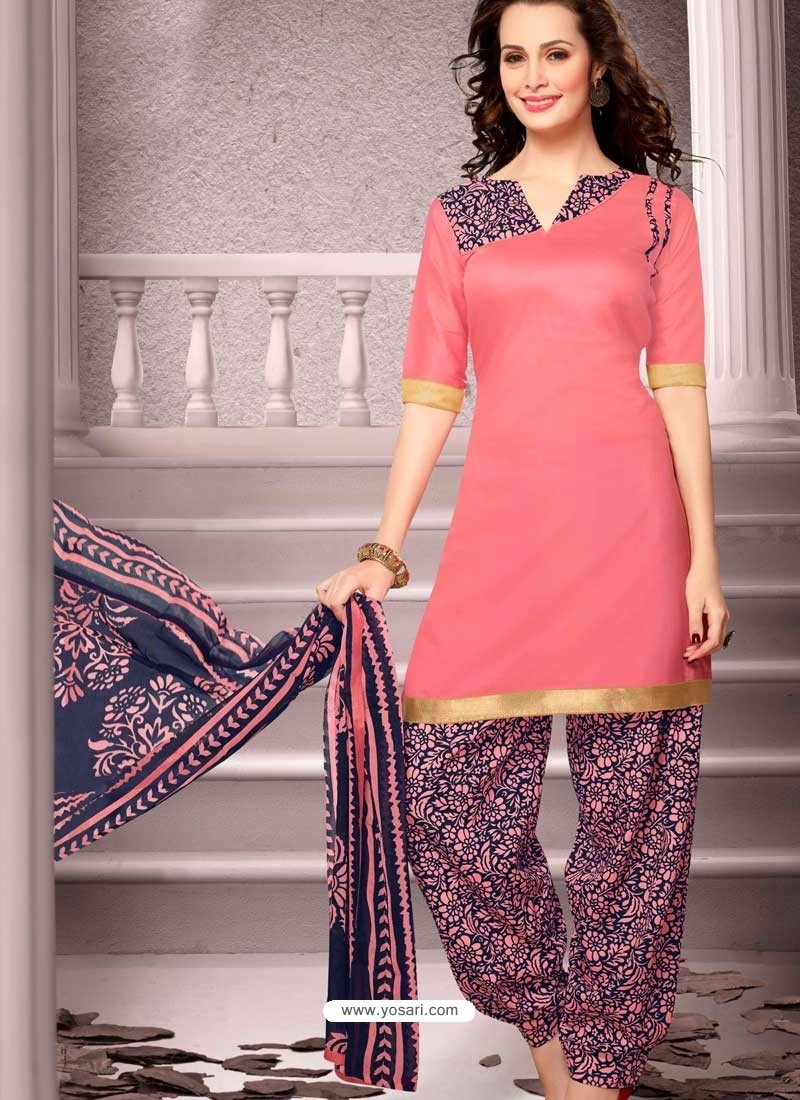 Salmon Cotton Punjabi Patiala Suit