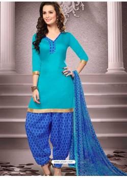 Aqua Cotton Punjabi Patiala Suit