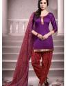 Violet Cotton Punjabi Patiala Suit