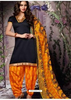 Black Cotton Punjabi Patiala Suit