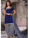 Navy Blue Cotton Punjabi Patiala Suit