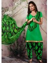 Sea Green Cotton Punjabi Patiala Suit
