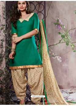Green Cotton Punjabi Patiala Suit