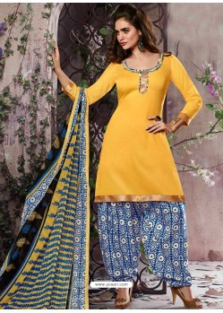 Yellow Cotton Punjabi Patiala Suit