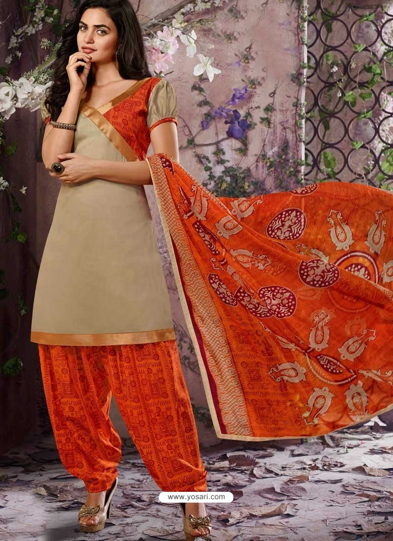 Beige Cotton Punjabi Patiala Suit