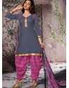 Grey Cotton Punjabi Patiala Suit