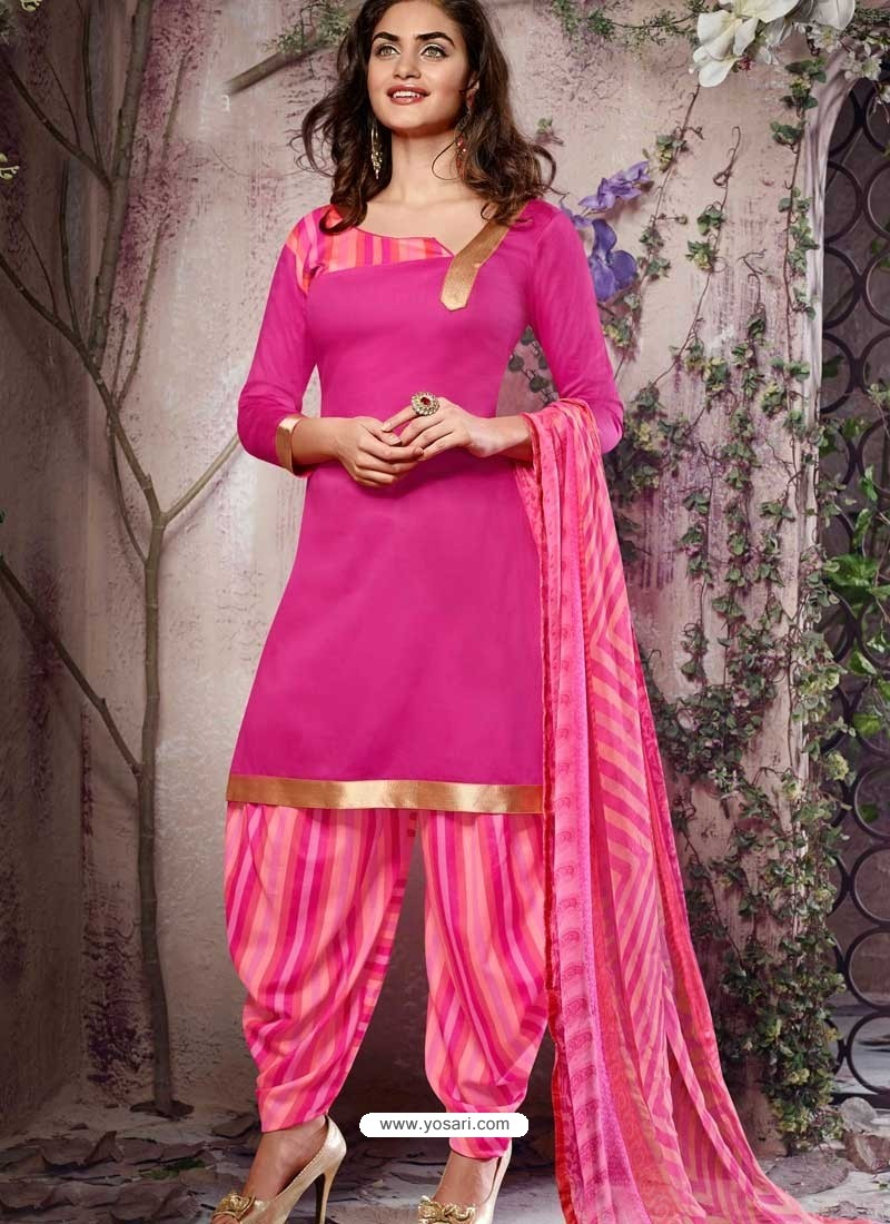 Pink Cotton Punjabi Patiala Suit