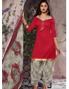 Red Cotton Punjabi Patiala Suit