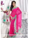 Flawless Pink Shade Faux Chiffon Saree