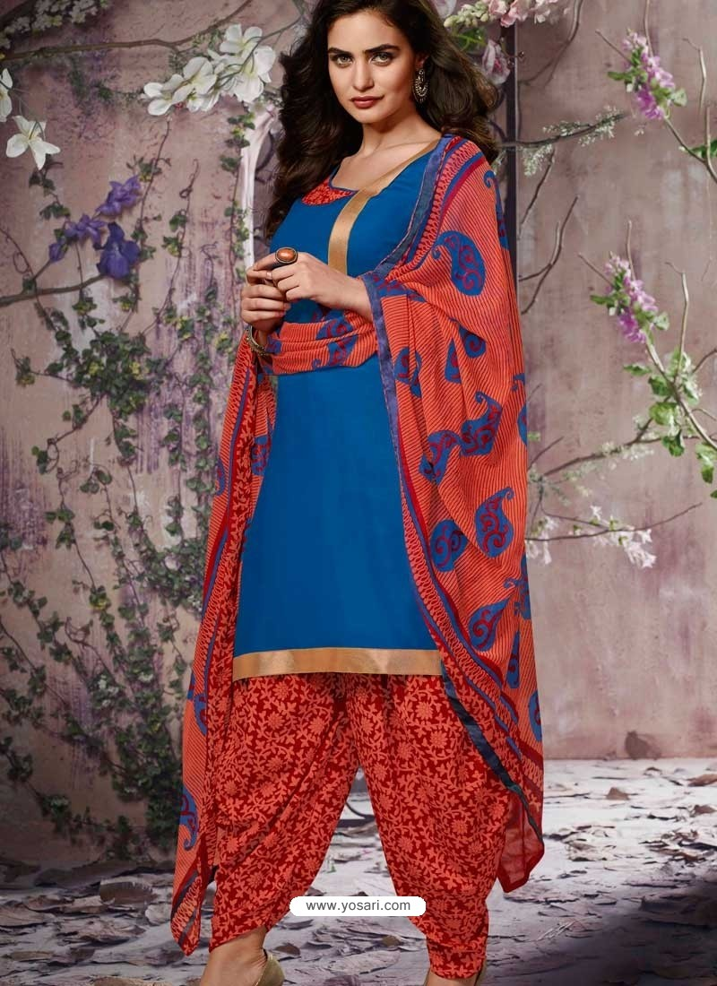 Blue Cotton Punjabi Patiala Suit