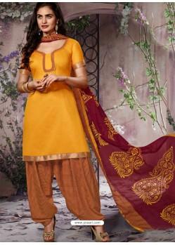 Yellow Cotton Punjabi Patiala Suit