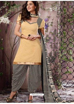 Cream Cotton Punjabi Patiala Suit