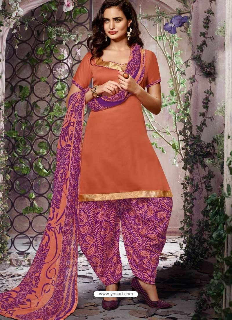 Salmon Cotton Punjabi Patiala Suit