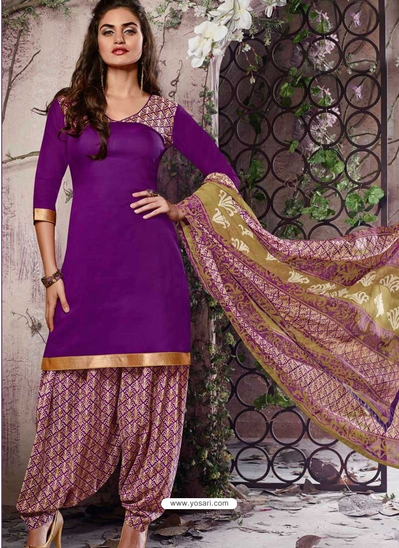 Violet Cotton Punjabi Patiala Suit