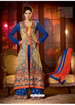 Blue Georgette and Net Anarkali Suit