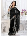 Lustrous Black Faux Georgette Saree