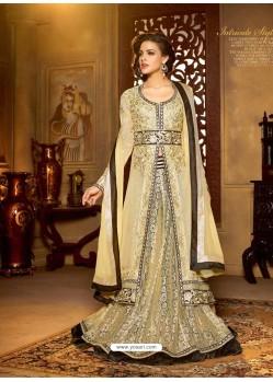 Cream Georgette Anarkali Suit