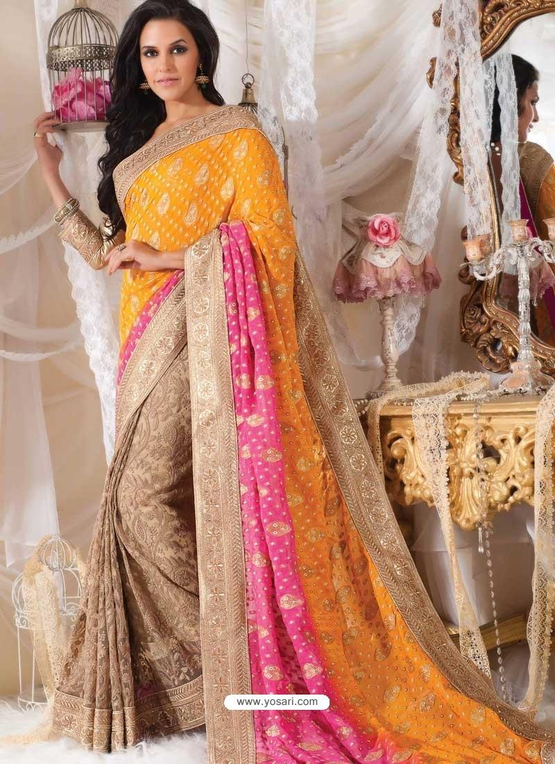 Neha Dhupia Yellow Designer Saree