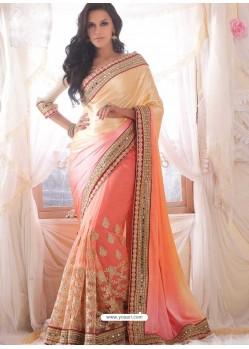 Neha Dhupia Peach Designer Saree