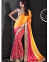 Yellow Embroidered Work Designer Saree