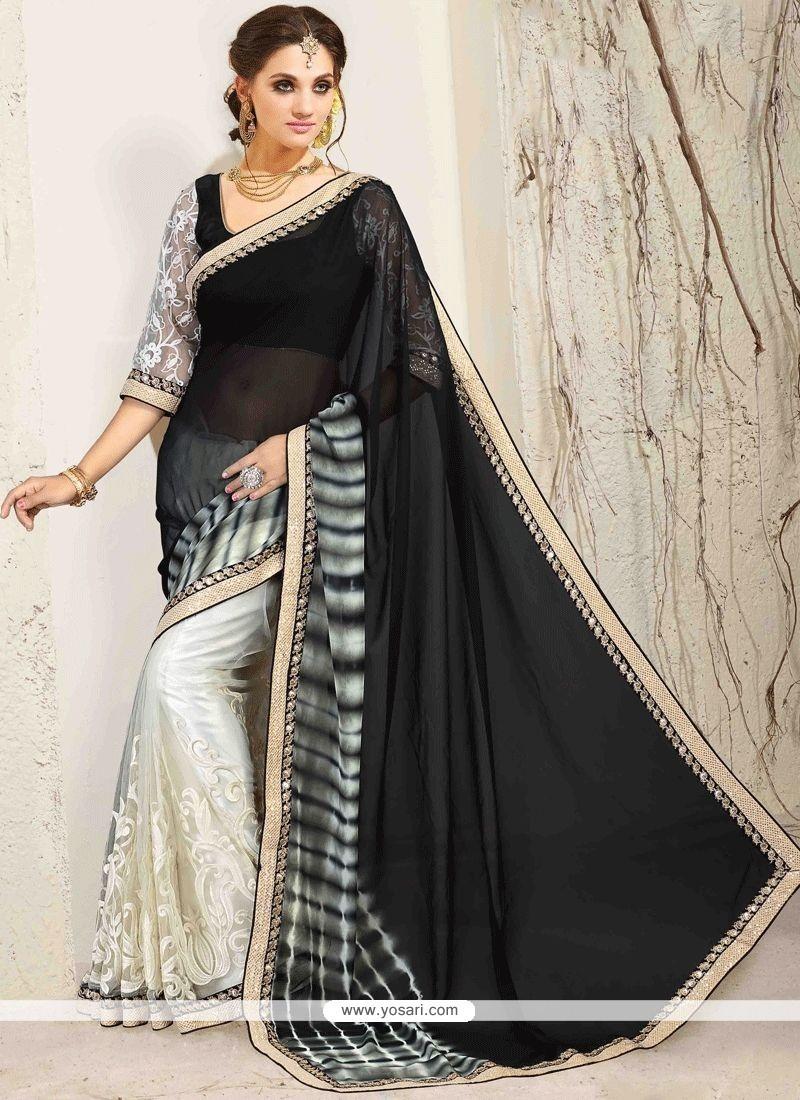 c5ff5234a6 Buy Net Embroidered Work Designer Half N Half Saree | Designer Sarees