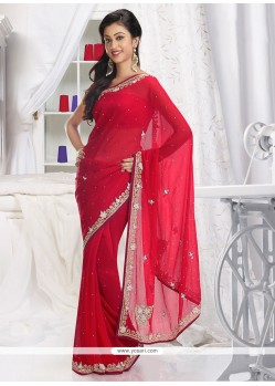 Gorgeous Red Shaded Faux Chiffon Saree