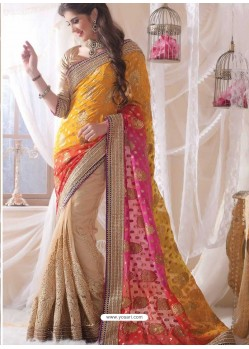 Cream Embroidered Work Designer Saree