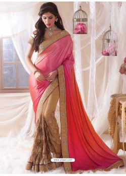 Pink Embroidered Work Designer Saree
