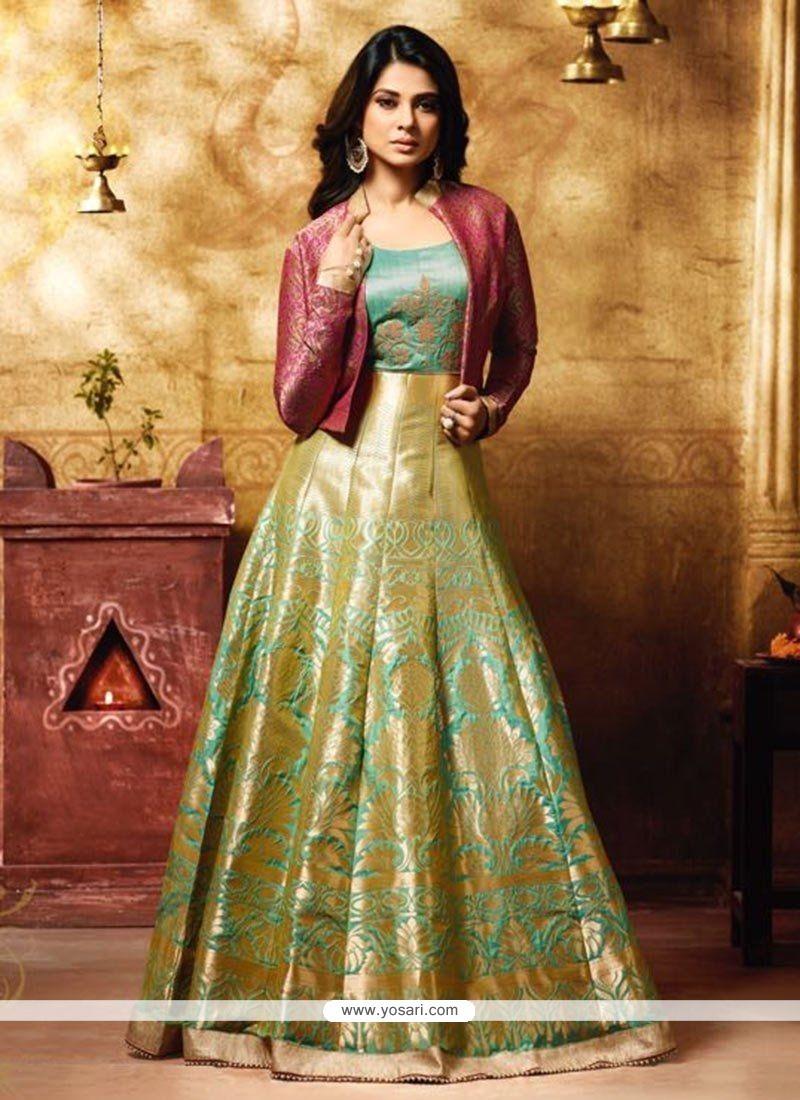 a2aa609ddb Buy Jennifer Winget Banarasi Silk Floor Length Anarkali Suit ...