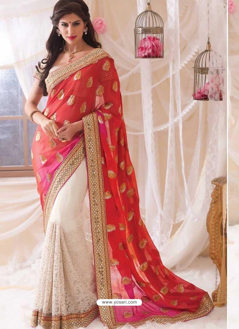 Red Embroidered Work Designer Saree
