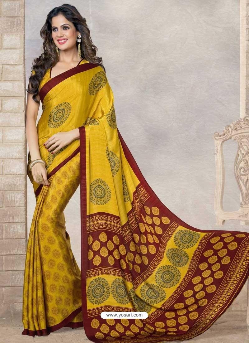 Yellow Silk Print Work Saree