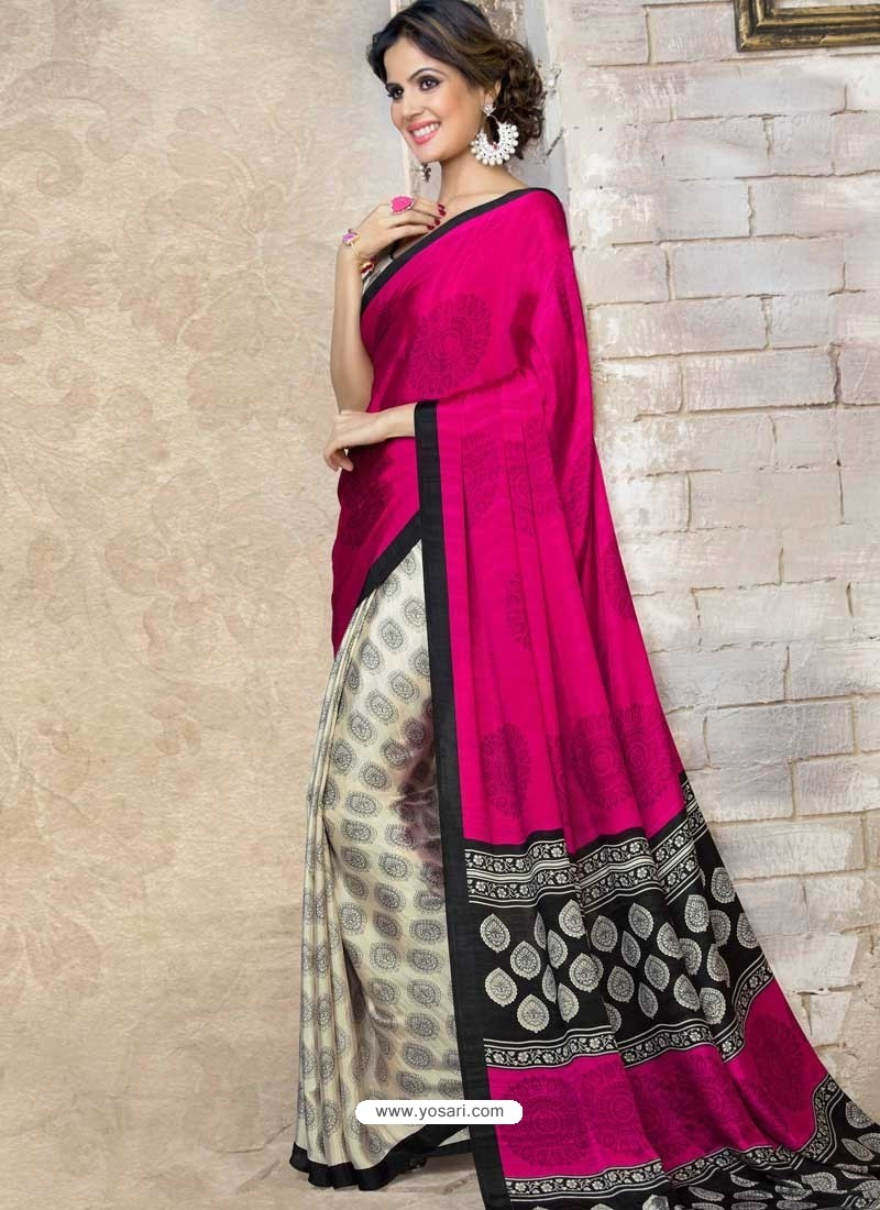 Pink Silk Print Work Saree