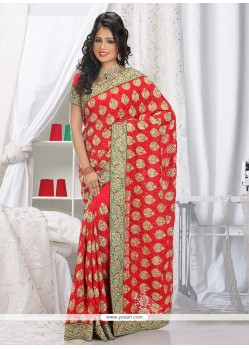 Fashionistic Red Faux Georgette Saree