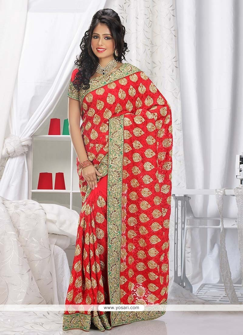Fashionistic Red Faux Georgette Saree
