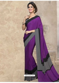 Purple Silk Print Work Saree