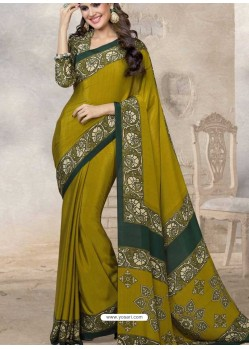 Olive Silk Print Work Saree