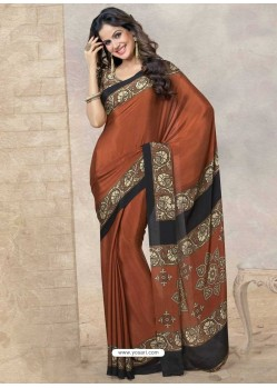 Brown Silk Print Work Saree