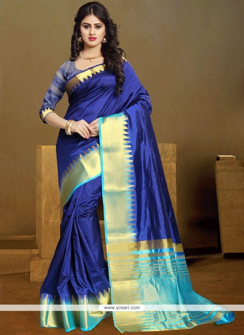 acffafa05d Buy Blue Kanchipuram Silk Designer Traditional Saree | Designer Sarees