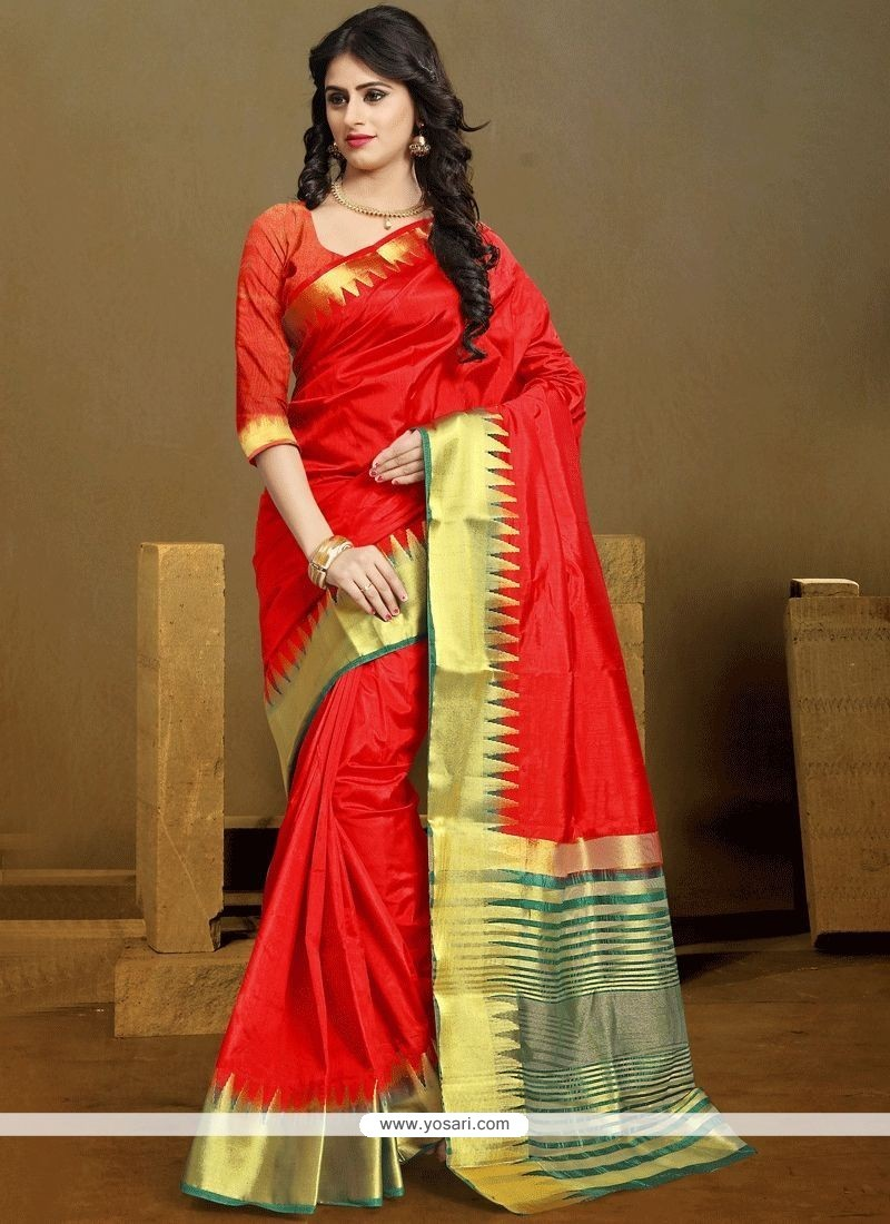 1b0f580a3c Buy Kanchipuram Silk Red Traditional Saree | Designer Sarees