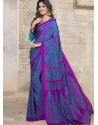 Blue Silk Print Work Saree
